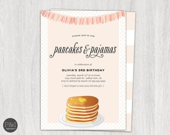 Pancakes and Pajamas Birthday Party Invitation/ Any Age/ Customized Printable