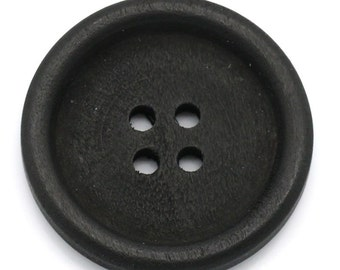 Black Matt Wooden Buttons 30mm.  Sewing Knitting Scrapbook and other craft projects