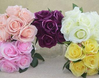 No.B0830 Cream Open  Rose Bouquet - Artificial Flower Bouquet, Artificial Flower, Wedding Bouquet, Bridesmaid Bouquet.