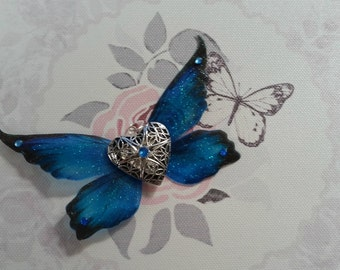 Blue Fairy Winged Locket (with silver plated chain)