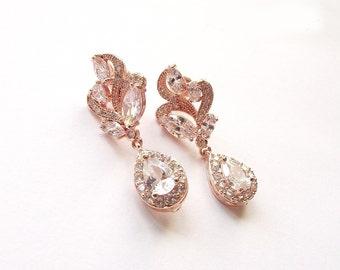 Rose gold Earrings Wedding Jewelry Zircon Drop Earrings Crystal Jewelry Bridesmaids earrings Prom earrings Bridal earrings Swarovski pearls