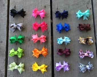 "Set of 20 pcs 2 inch hair bows, girls hair bows, hair bow, girl bows, baby bows, 2"" hair bows, infant hair bows, bows"