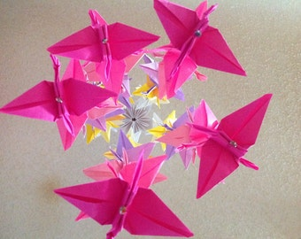 Origami Crane Mobile - Cranes ombre mobile- Children Decor- Baby Mobile - Nursery Homes