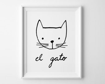 Illustration THE CAT printable Black and White Nursery Art, Downloadable Print, Wall Print, Nursery Print, Printable Art, Wall Print