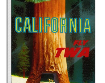 California Print Travel Poster Vintage Redwoods Art Canvas Decor Hanging Retro Wall Picture TR20