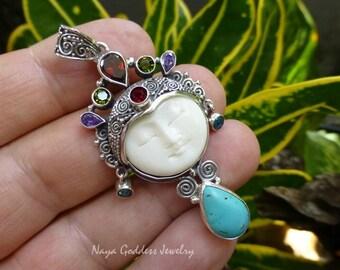 925 Silver and Mixed Gemstone Carved Bone Goddess Pendant NG-1245