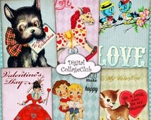 80 % off SaLe Retro Valentine Vintage Valentines Day Digital Collage Sheet Jewelry Holder Digital Background Valentine ATC Cards ACEO