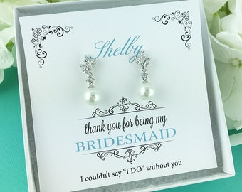 Earrings for Bridesmaid, Bridesmaid Earrings, pearl bridal earrings, Personalized Bridesmaid Gift, Eve Pearl Bridesmaids Earrings