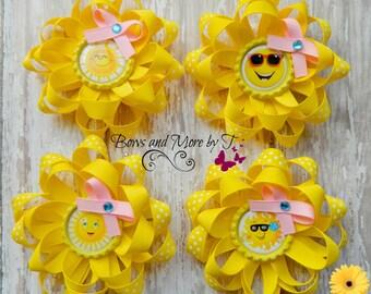 Hair Bows, Sun, Sunshine, Summer, piggie bows,