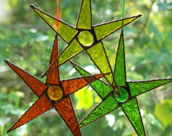 Set of 3 Stained Glass 5 Point Stars , Stained Glass Orange Star, Stained Glass Yellow Star,Stained Glass Green Star
