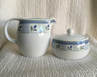 Oneida Sugar and Creamer, Blue Floral with Green Trim, Oval Sugar and Creamer,