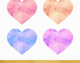 Watercolor Heart Clipart - INSTANT DOWNLOAD - .PNG Files