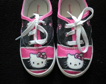 Hello Kitty Inspired Hand Painted Sneaker Toddler Girl Size 9