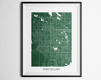 Map of Fort Collins, Colorado Colorado State University Abstract Street Map Print