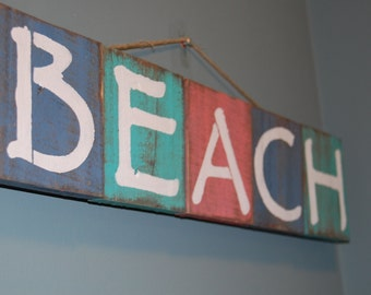 Rustic Multicolor Beach Sign Wall Decor - Made with Pallets