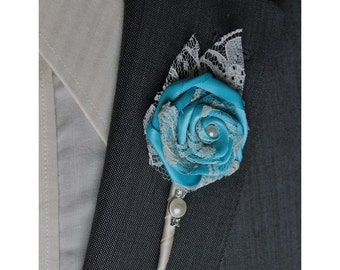 Turquoise Wedding Boutonniere Grooms Boutonniere Groomsmen Boutonniere Mens Wedding Boutonniere Turquoise Boutonniere Wedding   Boutonnieres