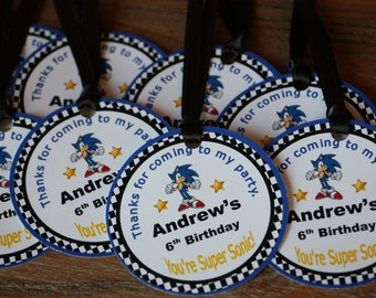 Sonic the Hedgehog *** CUSTOMIZABLE *** Favor Tags - Gift Tags - Thank You Tags - Sold in Lots of 8