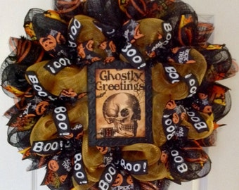 Ghostly Greetings Handmade Halloween Deco Mesh Wreath