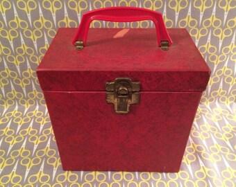 "Red Platter Pak 700 series 7"" Vinyl Record storage box 45RPM case tote"
