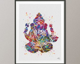 Ganesha Ganesh Lord Ganesha Watercolor Art Print Wall Wedding Gift Poster Giclee Wall Decor Art Home Decor Wall Hanging Buddha Yoga [NO 475]