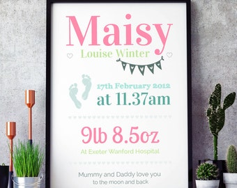Personalised baby print, nursery print, birth details, newborn gift (A4 unframed)