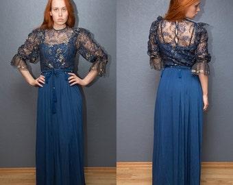 Vintage blue evening maxi dress / Evening gown / Lace dress / Blue evening lace dress / S-L