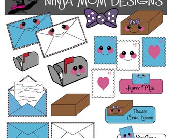 Happy Mail Clip Art in Color and Black Line