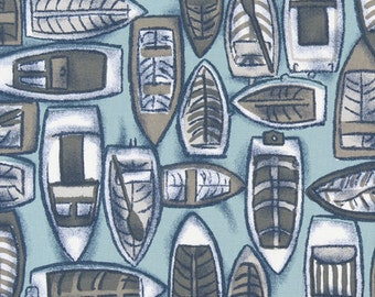"""COLVA  Nautical Print Fabric Spa Blue  54"""" wide Premier Prints Fabric By The Yard Fast Shipping"""