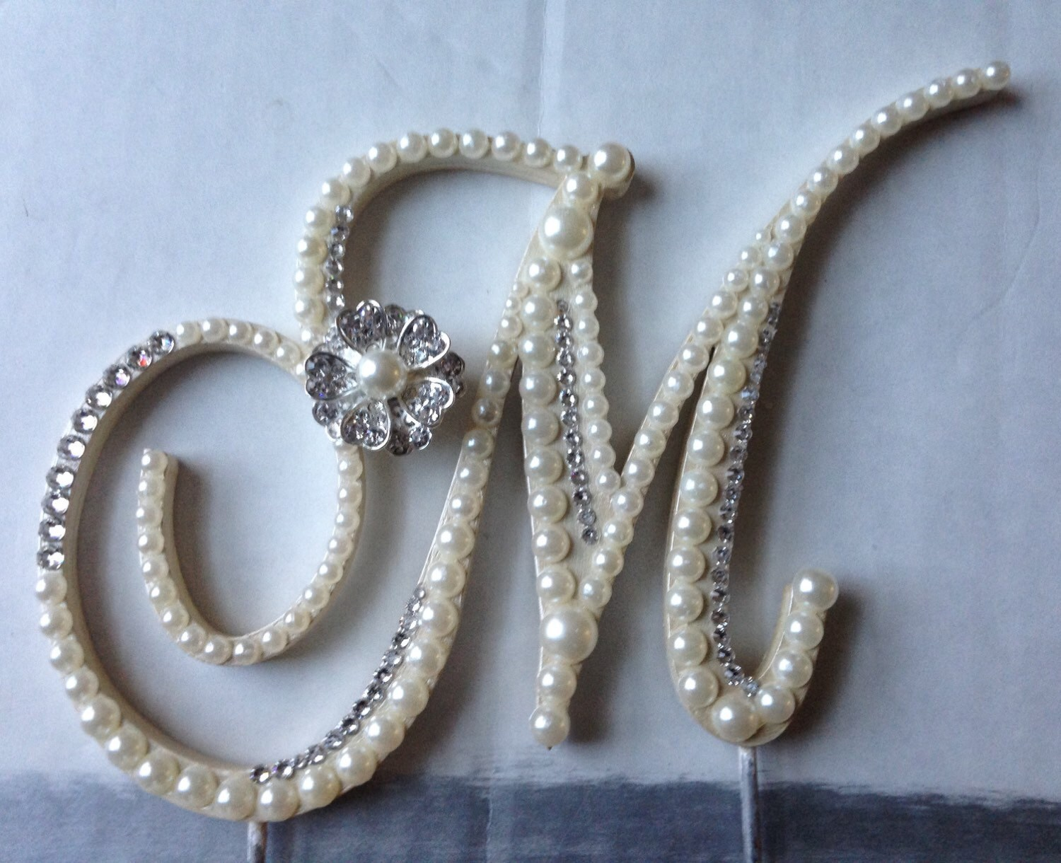 Wedding Cake Topper Monogram Pearl Wedding by