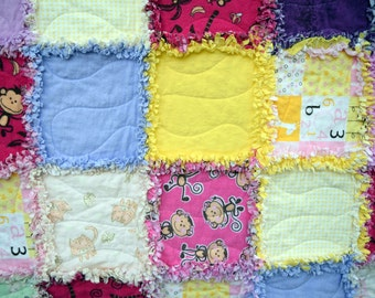 Flannel Raggy Baby Girl Quilt