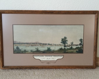 Framed Print of Portland, Oregon Territory, 1858