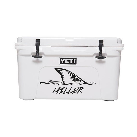 45qt yeti cooler fishing decal custom text by for Fishing yeti decal