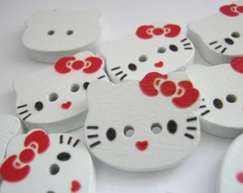 "6 Kitty Buttons Wood Cartoon Cat Buttons 20mm (3/4"") White Childrens Clothing Sewing Buttons Kids Knitting Sewing Accessories"