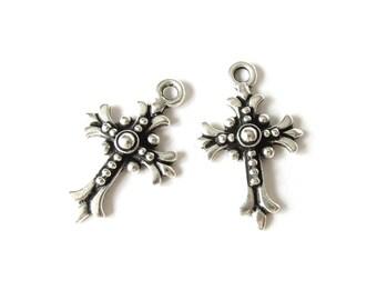 2x fleur cross charms antique silver finish, TierraCast fleur cross pendant for earrings or necklaces, jewellery supplies UK