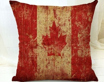 Vintage Weathered Canadian Flag - Pillow Cover