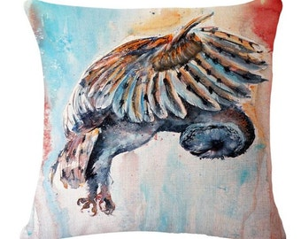 Watercolor Owl Flying - Pillow Cover