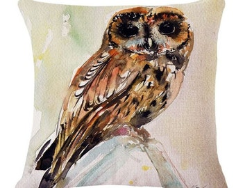 Watercolor Owl on a Rock - Pillow Cover