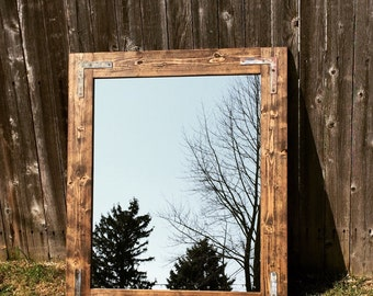 Handmade Rustic Mirror 24x36, Bathroom Mirror, Vanity Framed Mirror, Wood Mirror, Home Decor