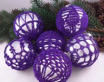 Silver & Purple baubles, Christmas decorations, Vintage Wedding, Christmas baubles, Crochet baubles, Christmas ornaments, Holiday