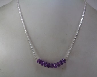 Sale, Natural Amethyst Beaded Necklace, February Birthstone Necklace