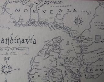 Renaissance Norway/Denmark map, hand-drawn