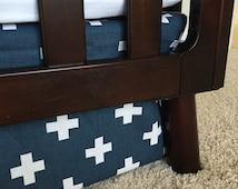 Cross Crib Skirts, Swiss cross baby bedding, gray crib skirts, blue crib skirt, Neutral crib skirt, camp theme crib skirt