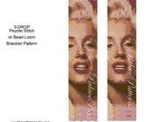 Marilyn Monroe - Beadweaving Bracelet PATTERN only - Marilyn3Drop - 3 drop peyote stitch pattern or Bead Loom Pattern