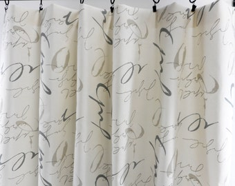 Off White curtains. Clay Panel Curtains. Sketch print. Macon Clay 2 panel curtain.  Window Treatment. Cotton.unlined.Designers. Choose size