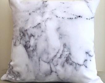 Carrara Marble Print Cushion Cover
