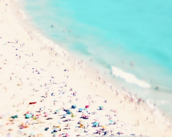 Beach photography, large aerial beach photo, beach people print, ocean print, beach wall art, people photo, pastel, turquoise,  home decor