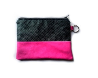 Zipped pouch in neon pink leather and dark green fabric. Toiletry bag for women, Neon pink Travel pouch. Makeup bag.
