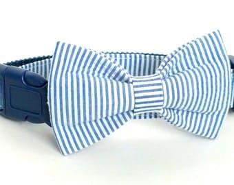Navy Seersucker Dog Collar Bow Tie set, pet bow tie, collar bow tie, wedding bow tie