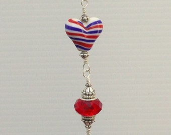 Red White and Blue Striped Heart Ceiling Fan Pull