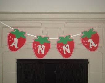 Custom personalized name or text strawberry birthday party banner garland decoration bunting die cut